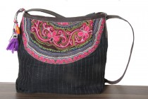 Beau sac à main femme cuir et brodé