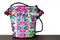 Mini sac à bandoulière besace avec fleurs colorées tendance