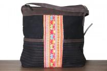 Petit sac noir à bandoulière avec cuir pour femme