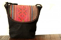 Petit sac cuir et toile fait main