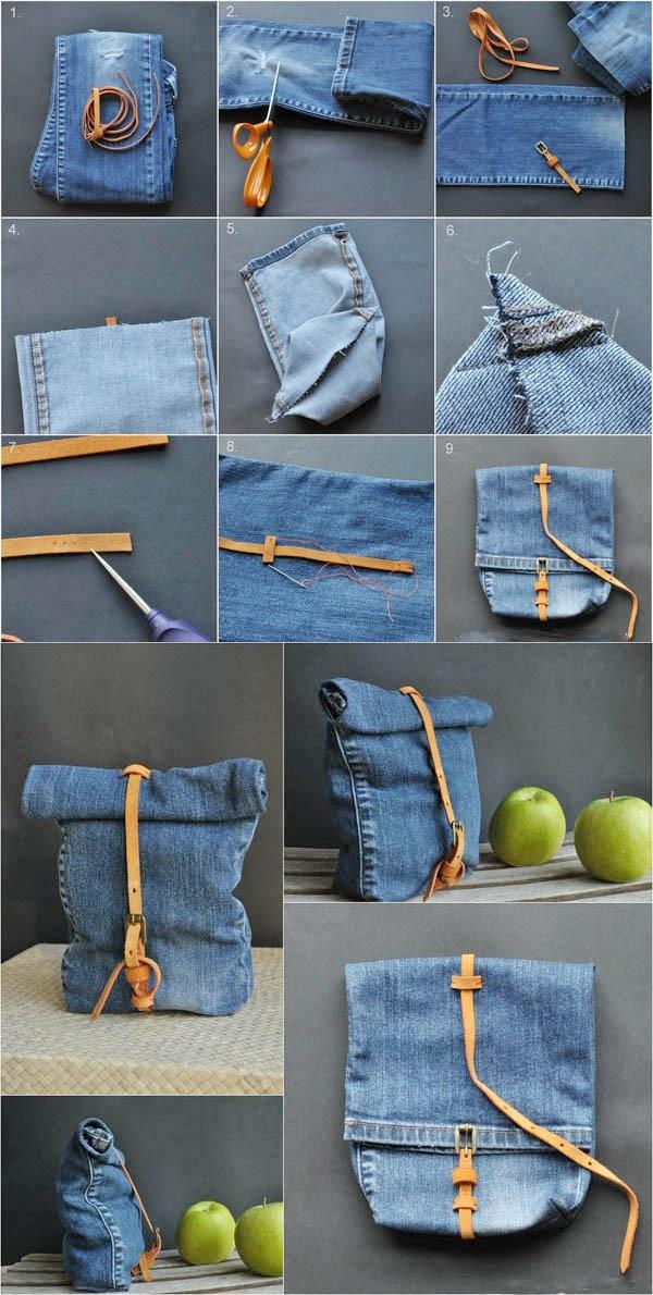 Comment fabriquer et transformer un sac avec un vieux jeans - Faire un sac avec un jean ...